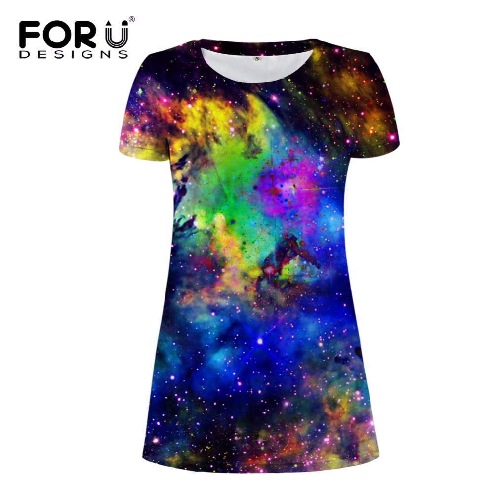178124b021347 FORUDESIGNS Galaxy Space 3D Print Women Summer Short Dress Vintage Plus Size  Women Clothing Elbise Comfortable Vestidos Mujer-in Dresses from Women s ...