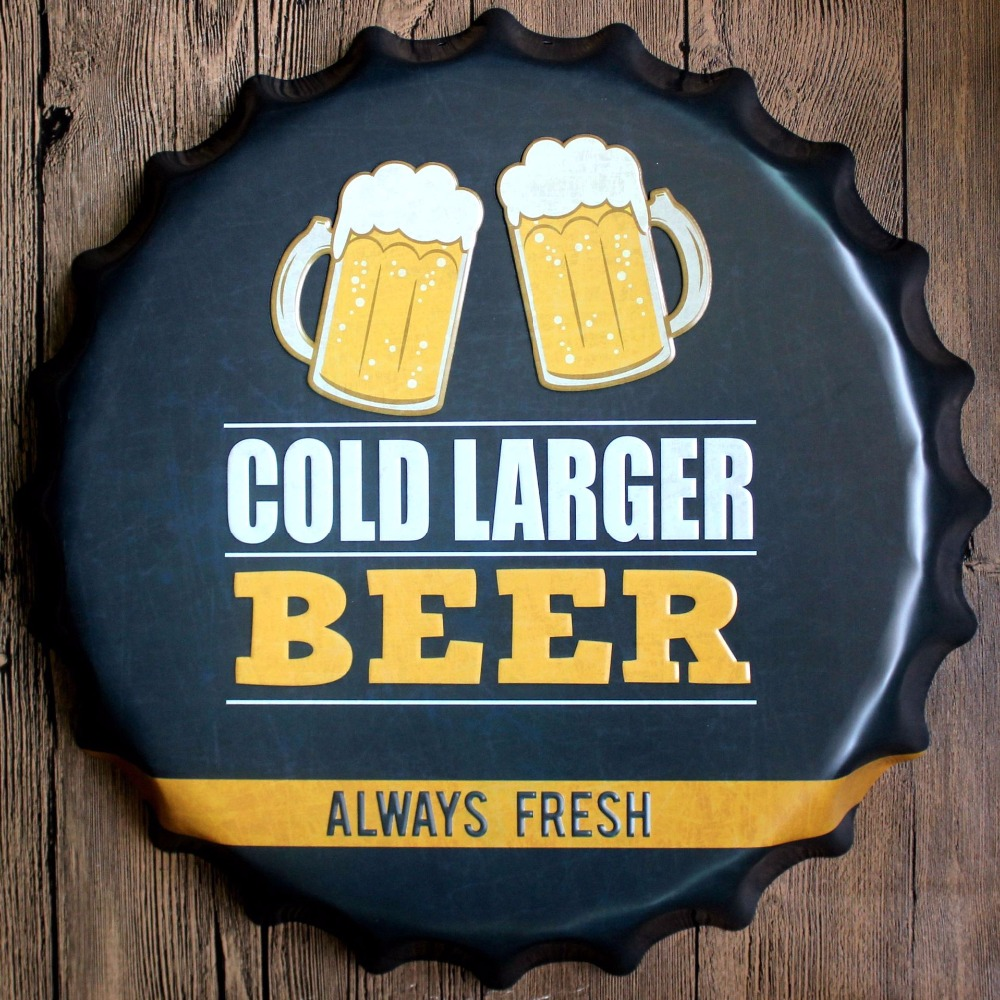 40cm Cold Large Beer Bottle Cap Vintage Home Decor Tin Sign Bar Wall ...