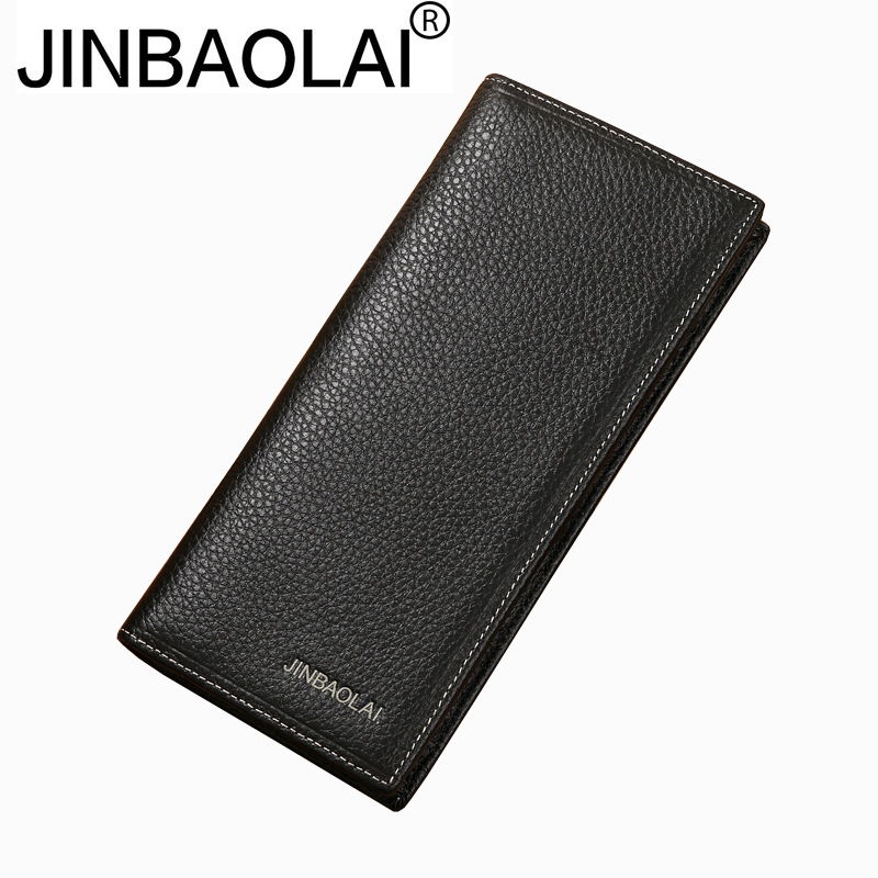 JINBAOLAI Fashion Mens Wallets Men Long Wallets Famous Brand Cowhide Leather Mens Wallet Leather Genuine Men Purse harrms genuine leather mens wallets famous brand navy men wallet fashion purse billetera cartera hombre marca