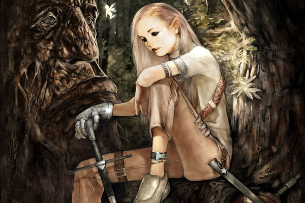 Living room home wall decoration sill fabric poster game artwork cool blonde girl knight sword flying elf wallpaper 3#4