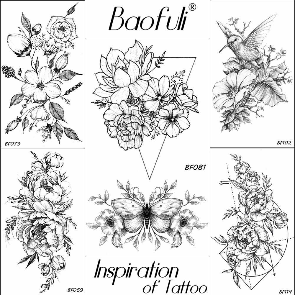 detail feedback questions about baofuli 20 styles women black Broken Heart On Sleeve baofuli women flowers butterfly temporary tattoo sticker triangle water transfer tatoos body art drawing neck ankle