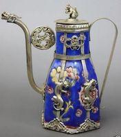Blue Porcelain Dragon Leopard Tea Pot copper  Tibetan silver statue  tools wedding Decoration Brass