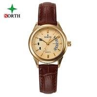 North Fashion Women Watches Unique Calendar Design Woman Casual Watches Genuine Leather Elegant Lady S Clock