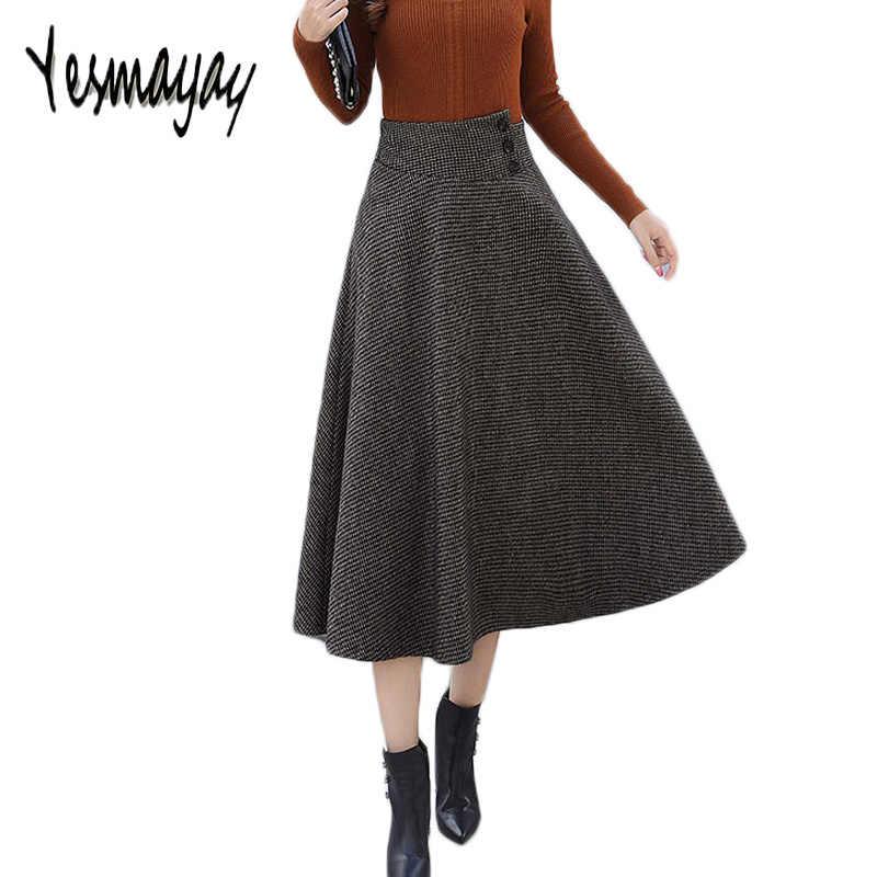 e22748a4da Falda Maxi Plus tamaño para las mujeres elegantes de cintura elástica de  lana caliente larga a