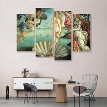Laeacco Canvas Painting Calligraphy 4 Panel Classic Posters Prints The Birth Of Venus Home Decoration Living Room Bedroom Decor