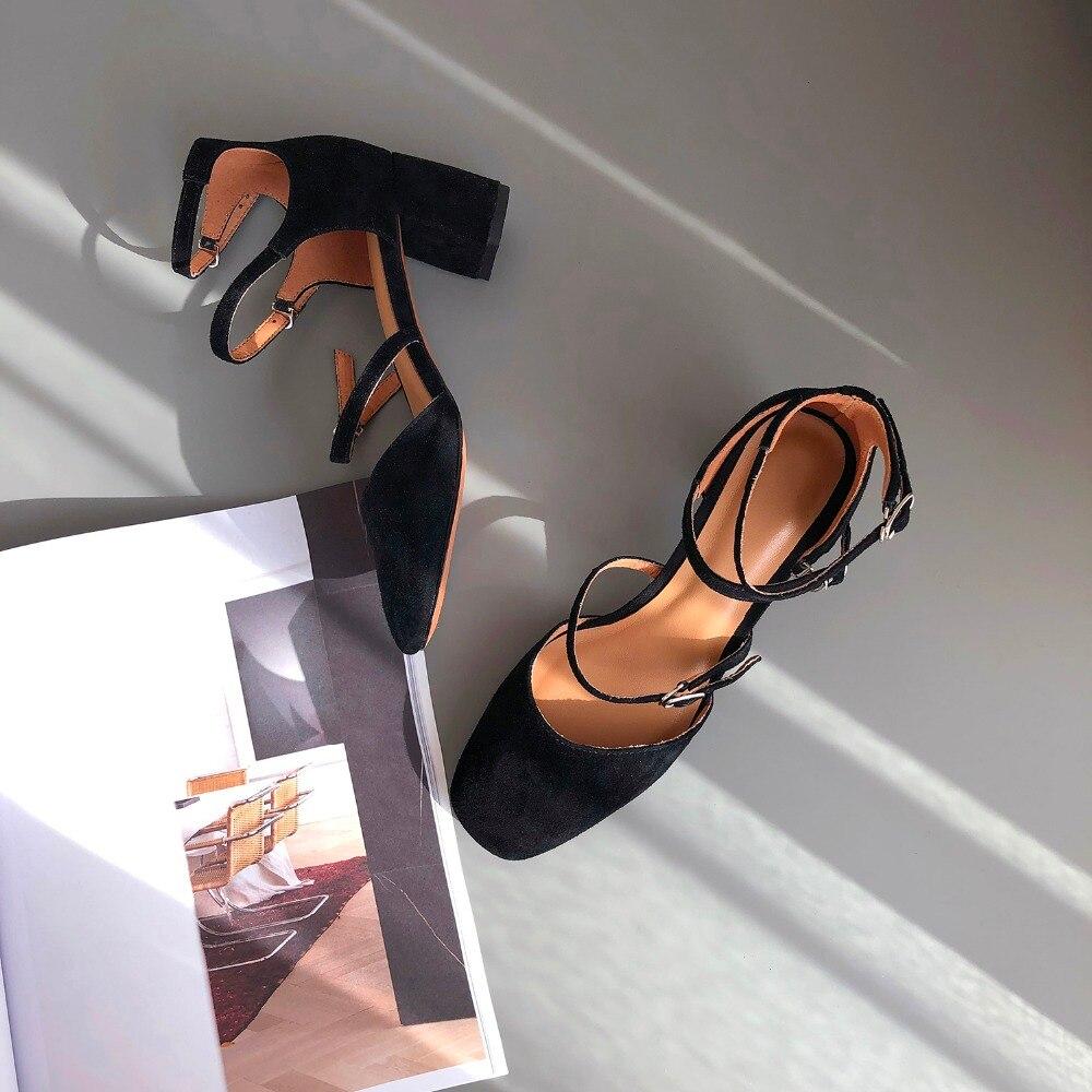 Med Aus Hohe beige High Sadalias Strap Wildleder Ankle Qualität Frauen Schuhe green Heel Für Komfortable Black Ferse Echtem Leder Sandalen Sommer pAwzwfq