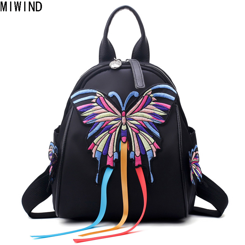 MIWIND Women Embroidered Backpack Butterfly Bag 2017 New Lady Backpacks Vintage Back Pack College Students School Bag TJA1262