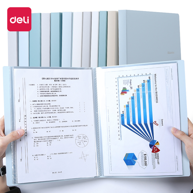 Deli 1PCS 30/40/60 Pages Small Fresh File Folder Multi-layer A4  Book Document Korea Cute Transparent Loose-leaf Storage Bag