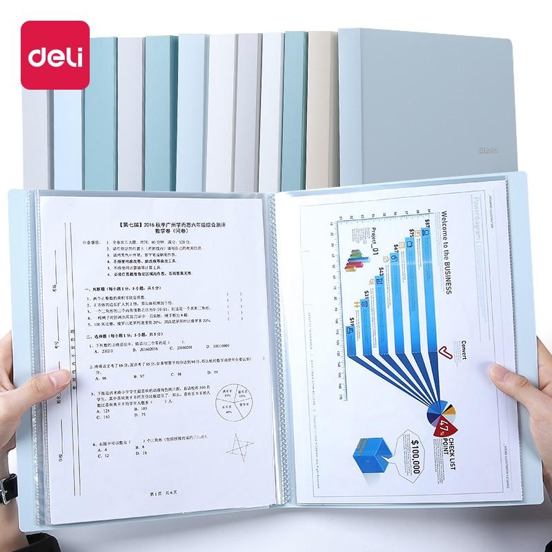 Deli 1PCS 30/40/60 Pages Small Fresh File Folder Multi-layer A4  Book Document Korea Cute Transparent Loose-leaf Storage Bag