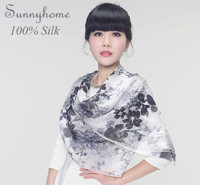 100% pure silk soft pashmina printed white black ink flower shawls and hijabs fashion high quality brand silk women long scarf