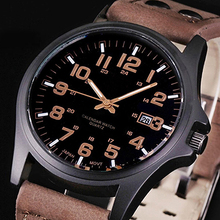 Brand Sport Military Watches Fashion Casual Army Quartz Watch Leather Analog Men 2015 New Luxury Wristwatch xfcs C2K5W