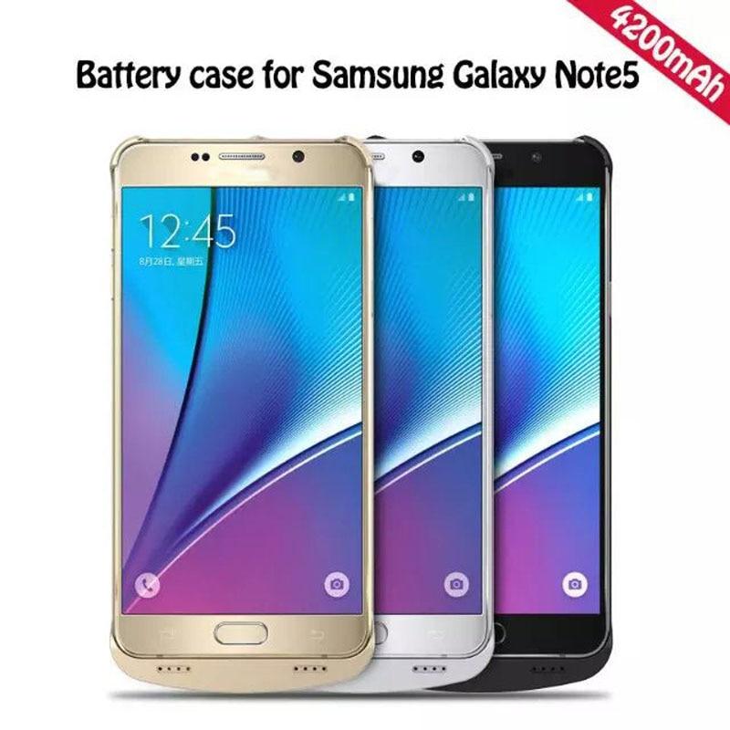 imágenes para Para samsung teléfono 4200 mah banco de la energía de carga de emergencia cargador de batería del caso para samsung galaxy note 5 note5 n9200 cubierta de la caja