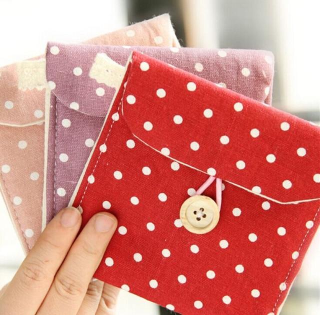 5 цветов, милая Хлопковая Сумка для монет в мелкий горошек, 10 см сумка для монет, чехол кошелек сумка; Карманный Женский гигиеническая прокладка мешок сумка