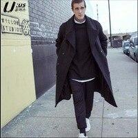 S 3XL зима Для мужчин новый шерстяное пальто средней длины двубортный шерсть флисовая верхняя одежда свободные большие размеры Одежда Шерстя