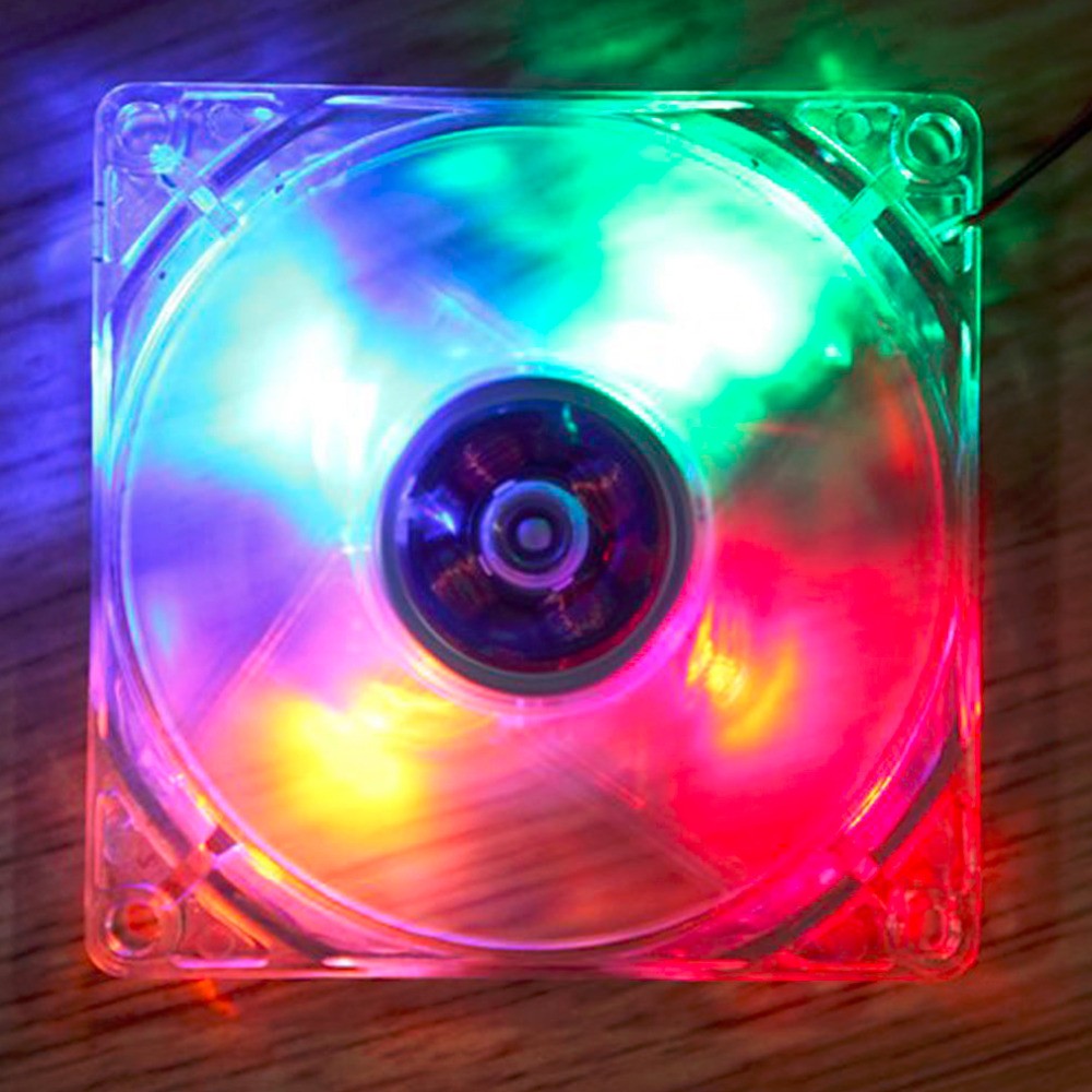2016 New 12cm PC Computer Clear Case Quad 4 Red LED Light 9-Blade CPU Cooling Fan 12V Wholesale mecall 8cm computer pc clear case quad cpu cooling fan