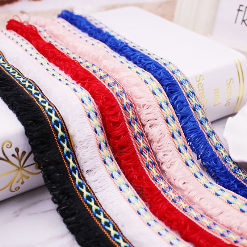 PPCrafts 28mm Fashion Tassel Fringe Lace Ribbon Jacquard Weave DIY Handmade Sewing Curta ...