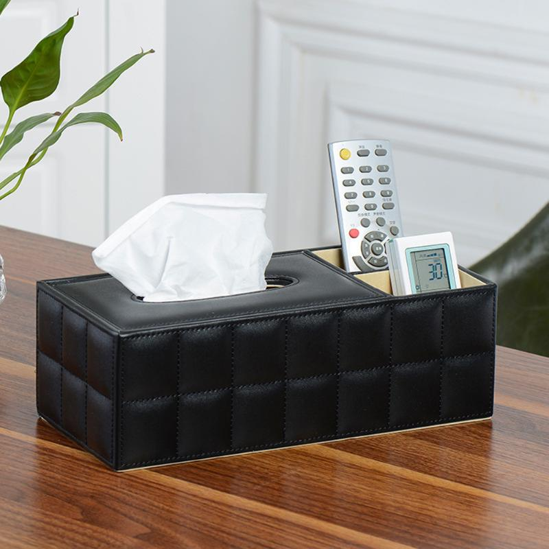 Black Leather Tissue Box Car Auto Paper Organizer Extraction Desk Remote Control Organization Storage Box