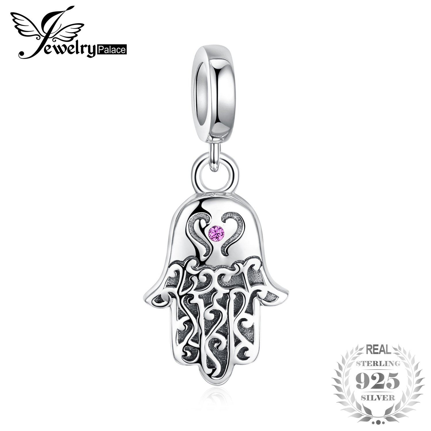 JewelryPalace DIY Beads  925 Sterling Silver Charm Pink Cubic Zirconia Fatima Hand Dangle Bead Charm Fit Bracelets FashionJewelryPalace DIY Beads  925 Sterling Silver Charm Pink Cubic Zirconia Fatima Hand Dangle Bead Charm Fit Bracelets Fashion