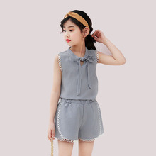 Girls Clothes Suits 2019 New Summer Children Clothing Sets Cotton Plaid Sleeveless Vest+Shorts 4 6 8 10 12 13 Years Girls Suit casual girls clothes 2017 new summer children clothing sets plaid bow kids suit for girls heart printed 3 4 5 6 7 8 year clothes