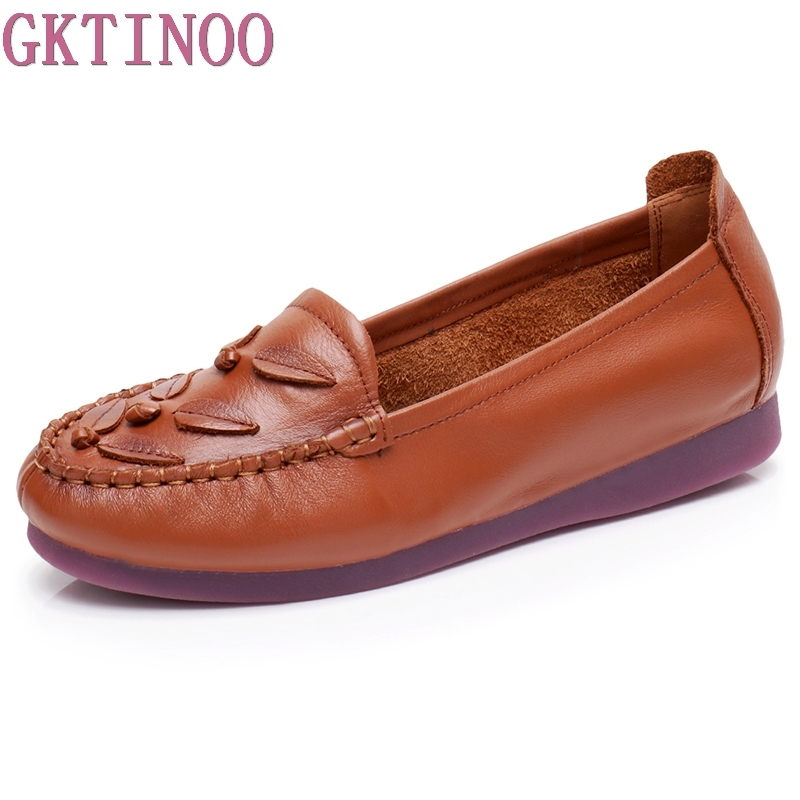 GKTINOO 2018 Genuine Leather Handmade Flat Shoes For Women New Spring Slip-on Round Toe Casual Fashion Ladies Lazy Loafers new round toe slip on women loafers fashion bow patent leather women flat shoes ladies casual flats big size 34 43 women oxfords