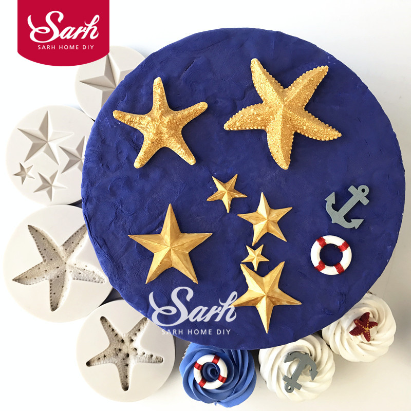 Sea Starfish Femkantede Star Collection Fondant Cake Moulds til køkkenet Baking Sukkercraft Dekorationer og Tool