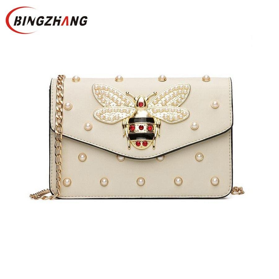 Frauen Marke Desinger Strass Bee Pu-leder Umhängetasche Kleine Umhängetasche Tasche mit Kette Für Mädchen Damentasche Bolso L4-3028