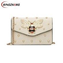 Kadınlar marka tasarımcısı Rhinestones arı PU deri omuz çantası küçük Crossbody çanta zinciri ile kızlar bayanlar için çanta Bolso L4 3028