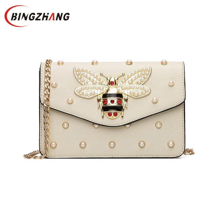 Women Brand Desinger Rhinestones Bee PU Leather Shoulder Bag Small Crossbody Bag with Chain For Girls Ladies Bag Bolso L4-3028 metallic pu chain crossbody bag
