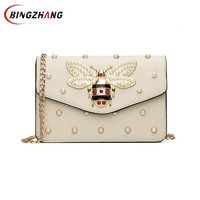 Women Brand Desinger Rhinestones Bee PU Leather Shoulder Bag Small Crossbody Bag With Chain For Girls