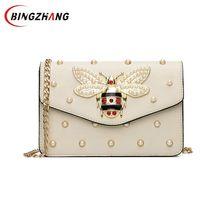 ba25f88702ea3f Women Brand Desinger Rhinestones Bee PU Leather Shoulder Bag Small  Crossbody Bag with Chain For Girls