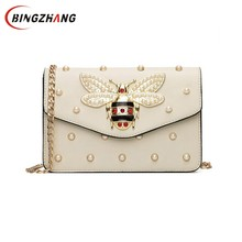 Women Brand Desinger Rhinestones Bee PU Leather Shoulder Bag Small Crossbody