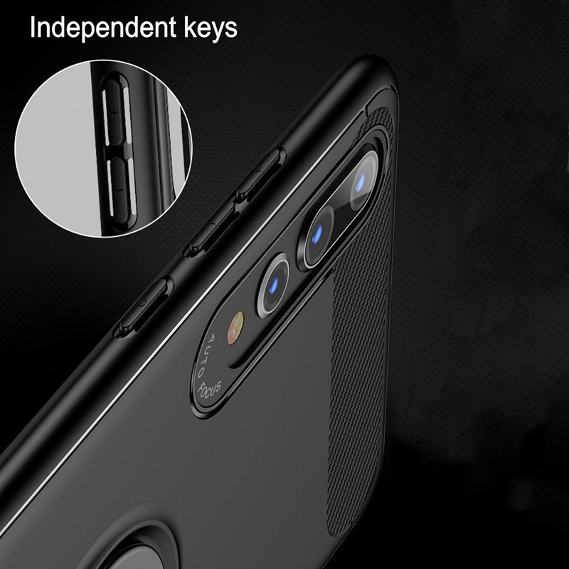 Image 3 - Carbon Fiber Magnet Case For Huawei p20 lite p20 pro Case Soft Silicon Metal Ring Cover For Huawei honor 10 p20lite p20pro Cases-in Fitted Cases from Cellphones & Telecommunications