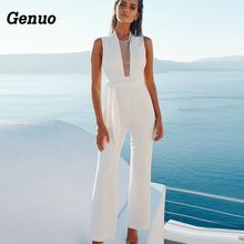 Genuo 2018 Women Lace Up Wide Leg Long Jumpsuit Overalls Playsuit Sexy Sleeveless V Neck White Causal Rompers macacao feminino