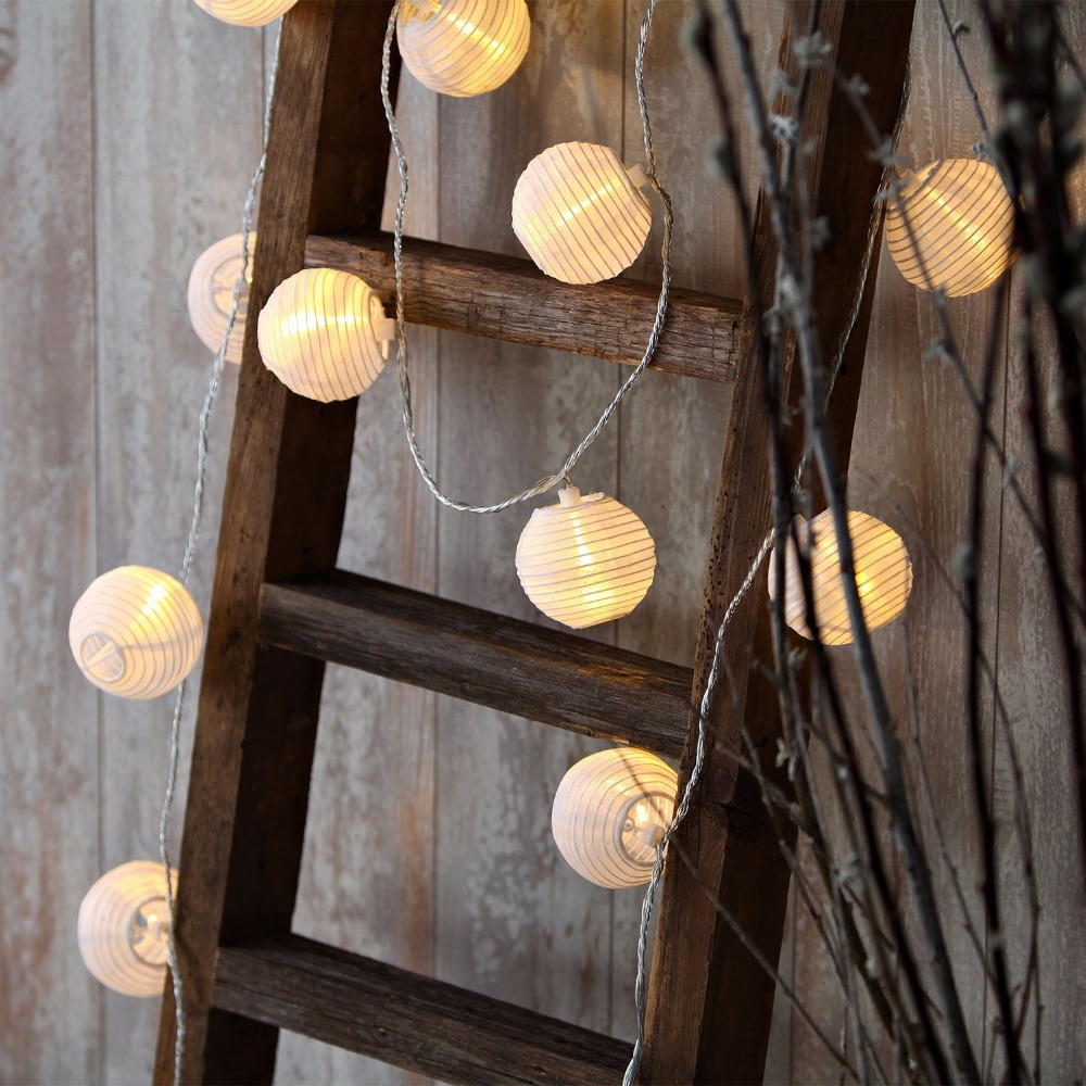 Set Of 10 White Fabric Paper Lantern Lights Globe String Fairy Lights For Christmas Party Wedding New Year Indoor Decoration