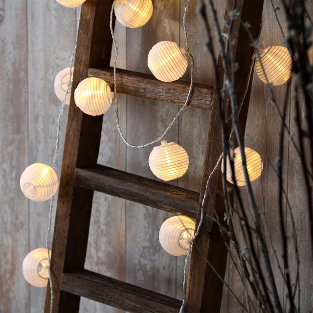 Set of 10 White Fabric Paper Lantern Lights Globe String Fairy ...