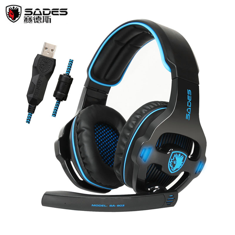 Sades SA903 Gaming Headset casque 7.1 Surround Sound Channel Best Gamer Headphones with Microphone Mic fone de ouvido 3 in 1 sades sa922 pro gaming headset 7 1 surround sound stereo headphones earphones casque with mic for xbox 360 ps3 pc gamer