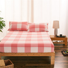 modern style red and white lattice pattern 3pc 100 cotton fitted sheet pillowcase mattress cover