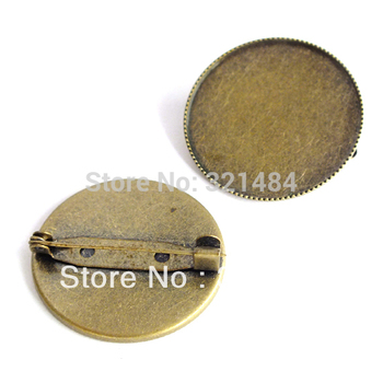 wholesale 200piece Antique bronze 25mm brooch safety pin jewelry blanks