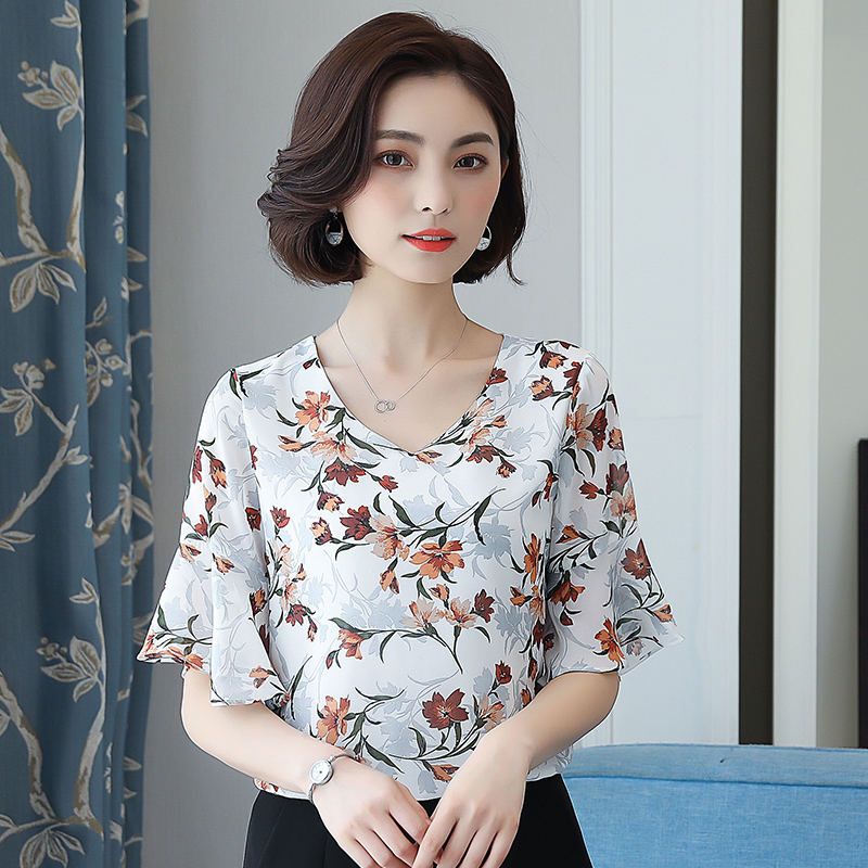 DHIHKK Summer Chiffon Print Blouse 2018 Newest Women Flare Sleeve Elegant Fashion Blouse Ladies Shirts Casual Blusa Feminino