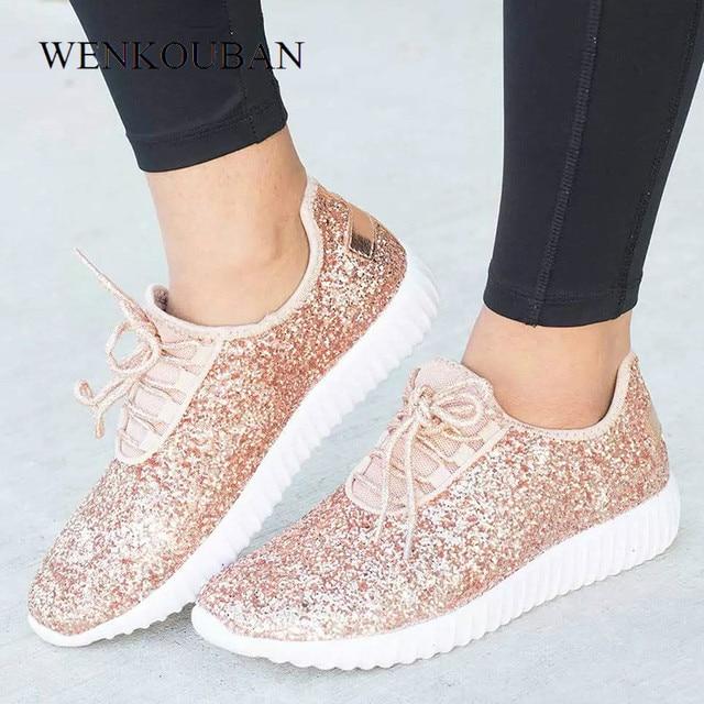 Sapatilhas femininas bling sapatos das senhoras verão brilho tainers mulheres sapatilhas brancas sparkly sapatos casuais cesta femme zapatos mujer