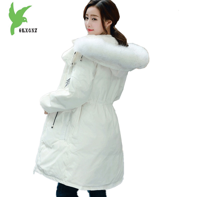 Boutique Women Winter Down Cotton Jacket Coats Thick Warm Parkas Hooded Raccoon fur collar jackets Fashion Slim Coats OKXGNZ1217 high grade big fur collar down cotton winter jacket women hooded coats slim mrs parkas thick long overcoat 2017 casual jackets