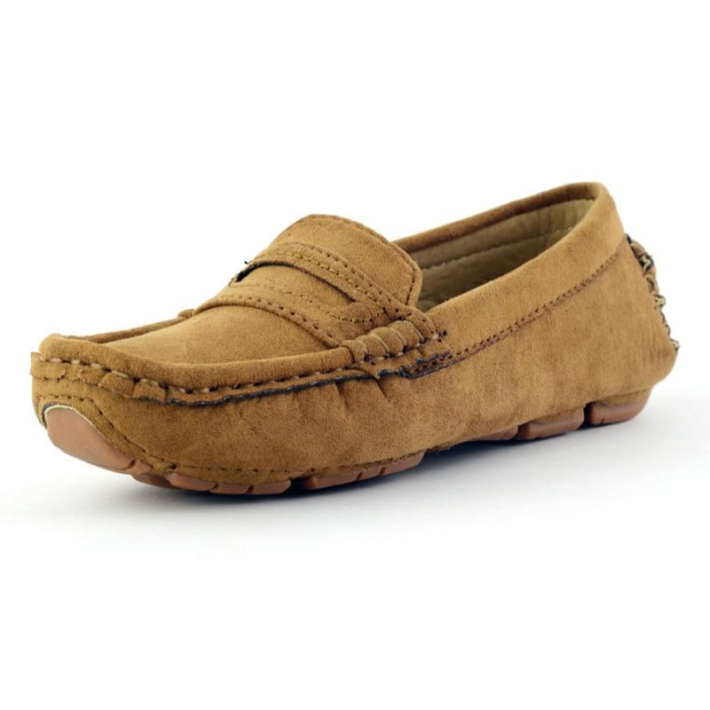 Handmade SLIP บนรองเท้าหนังเด็ก 2018 ใหม่หนังนิ่มรองเท้าผ้าใบเด็ก Boys Loafers ฤดูใบไม้ร่วง PLUS ขนาด 23-39 B08243