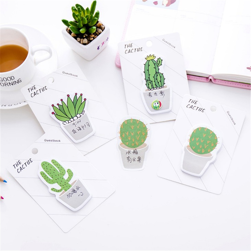 30 Sheets Fresh Cactus Memo Pad Sticky Notes Notebook Stationery Memo Pad Office And Stationery School Supplies Students Gifts