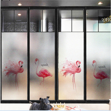 Frosted glass stickers Nordic ins flamingos Bathrooms balcony door windows electrostatic transparent opaque film 4pcs flamingos