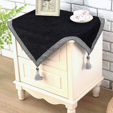European top-grade bedside cabinet cover English black tea table cloth  New china style night table cover patchwork with tassels