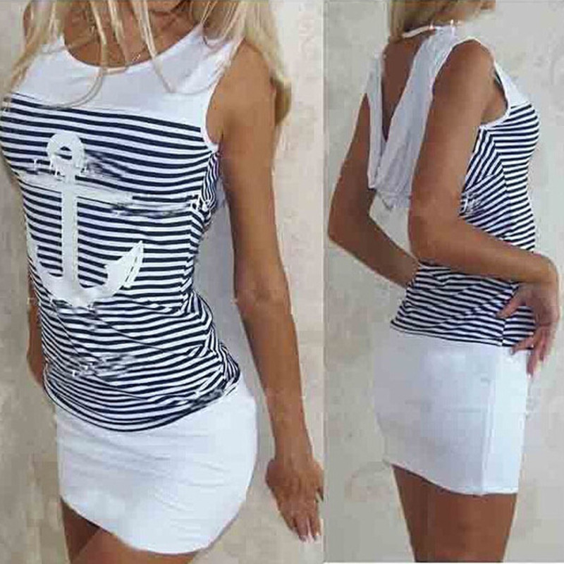 Summer Plus Size Women Dress Casual Sleeveless White Blue Anchors Print Striped Dress Sexy Beach Bodycon Mini Dress Dropshipping