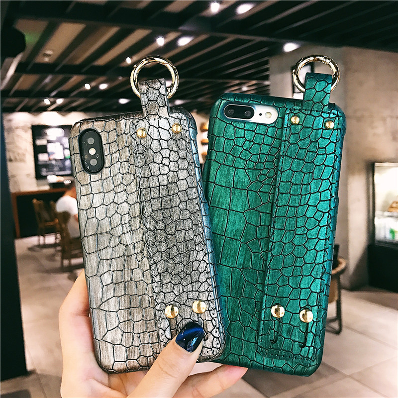 Person - Plain With Wrist Strap Case For iPhone XS Max Case Leather Hard Back Cover Coque
