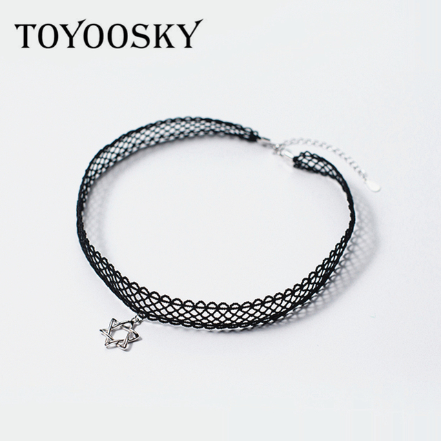 888373e4d Six Star Black Lace Choker Necklace 925 Silver Vintage Simple Design Layer  Necklaces Boho Jewelry for Women