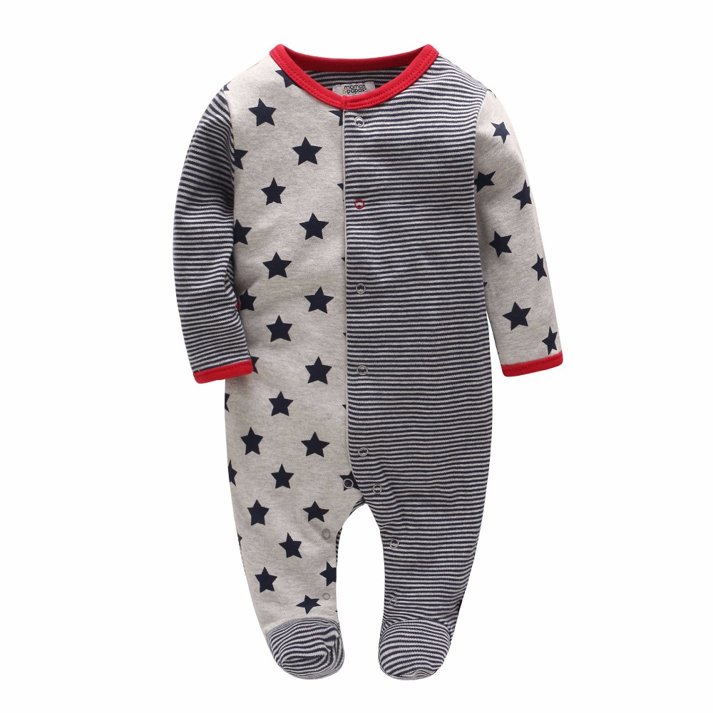 Picturesque Childhood Official Store 2-1 2018 new born boy footies cotton long sleeve 3-12M
