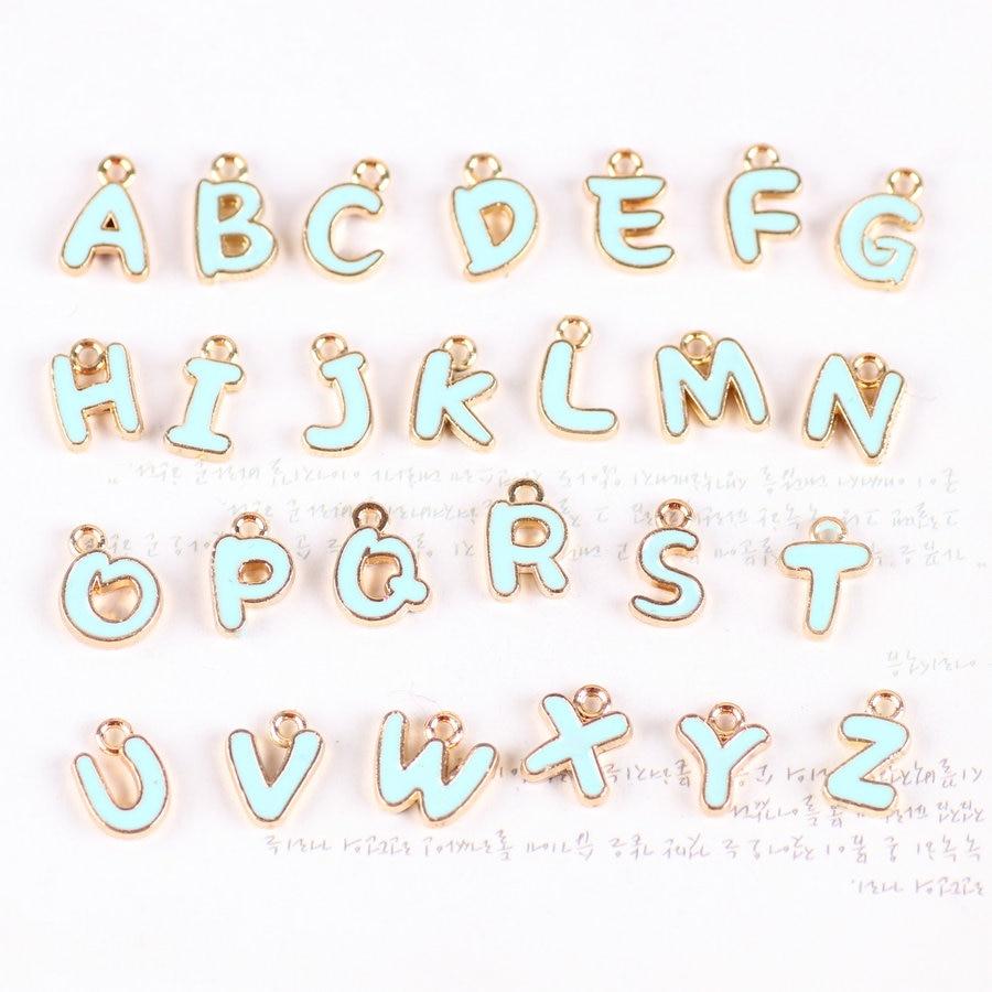 new arrival 26pcs mini order mint blue enamel letter charms gold tone drop oil alphabet initial